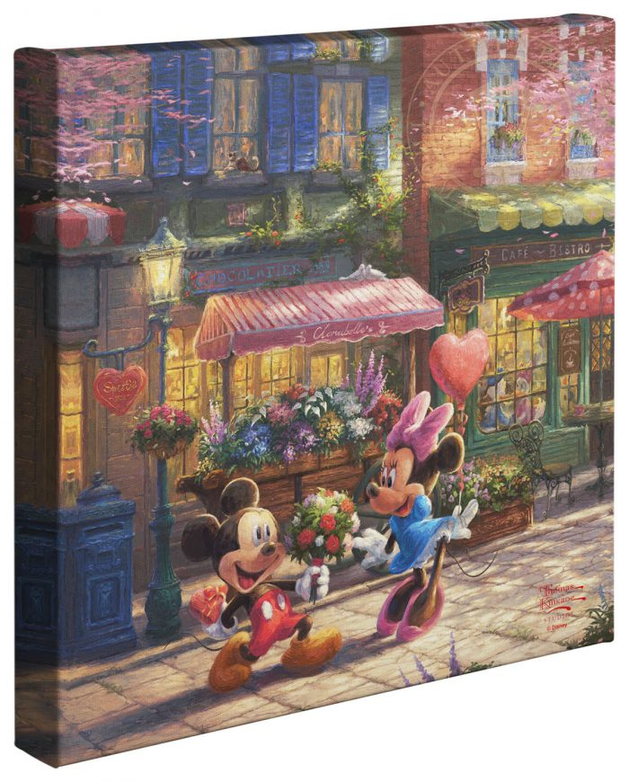Mickey and Minnie –  Sweetheart Café   – 14″ x 14″ Gallery Wrapped Canvas