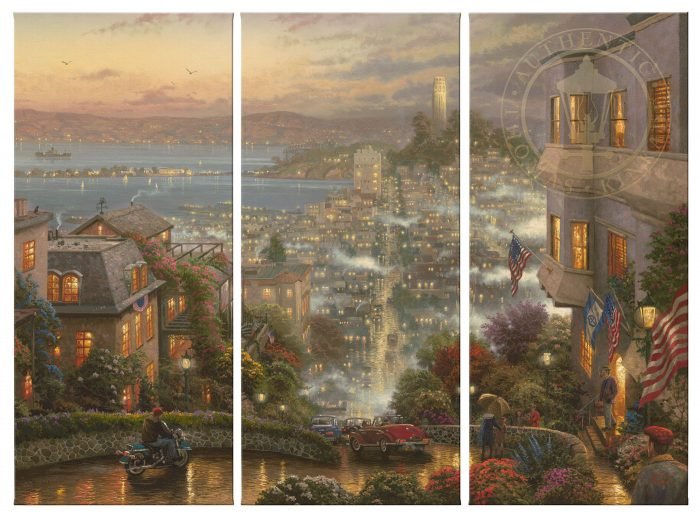 San Francisco, Lombard Street – 36″ x 16″ (Set of 3 Panels) Triptych Giclee Canvas (Set of Three)