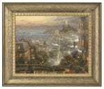 San Francisco, Lombard Street – 16″ x 20″ Brushstroke Vignette (Burnished Gold Frame)
