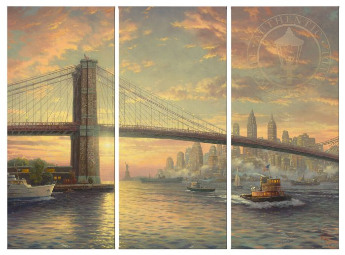 The Sprit of New York – 36″ x 16″ (Set of 3 Panels) Triptych Giclee Canvas (Set of Three)