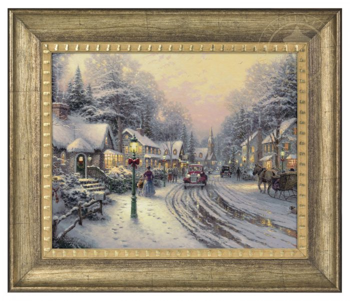 Village Christmas – 16″ x 20″ Brushstroke Vignette (Burnished Gold Frame)