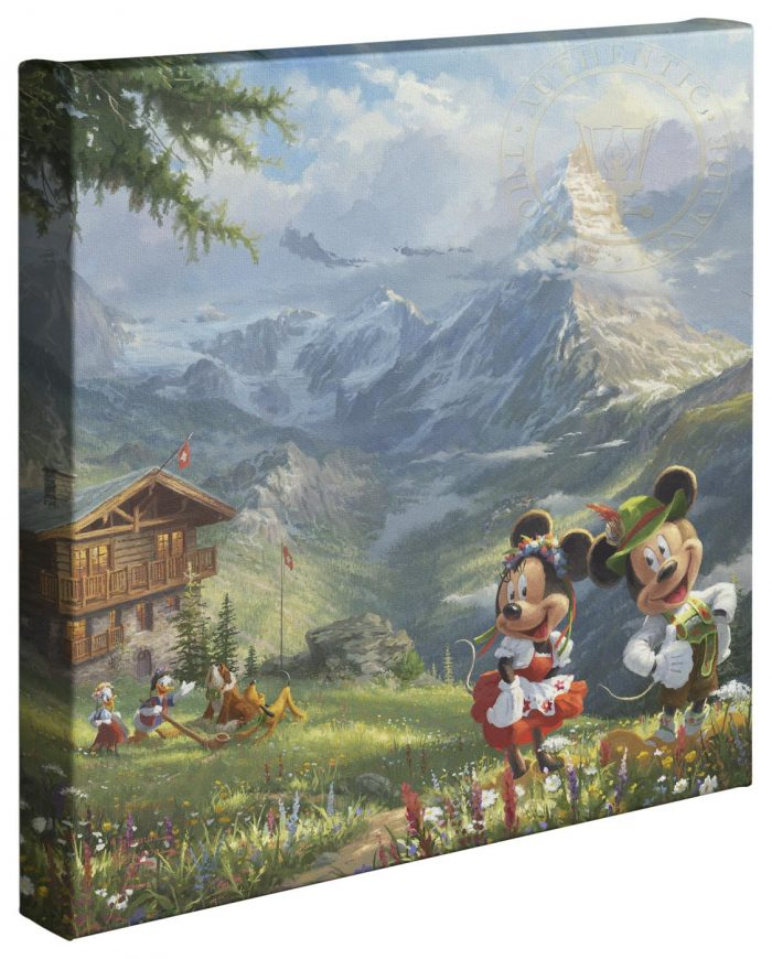 Mickey and Minnie in the Alps – 14″ x 14″ Gallery Wrapped Canvas