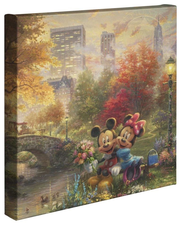 Mickey and Minnie – Sweetheart Central Park – 14″ x 14″ Gallery Wrapped Canvas