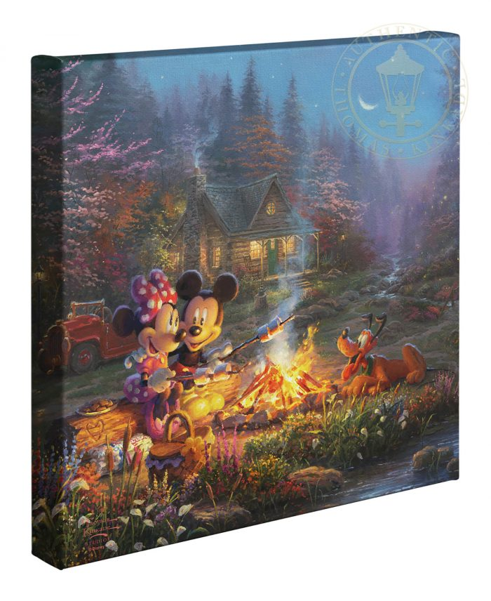 Mickey and Minnie – Sweetheart Campfire – 14″ x 14″ Gallery Wrapped Canvas