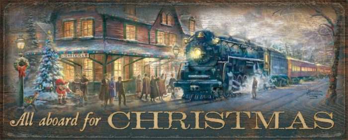 "All Aboard for Christmas – 12"" x 30"" Wood Sign"