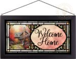 Autumn at Ashely's Cottage – 13″ x 23″ Stained Glass Art (Black Frame)