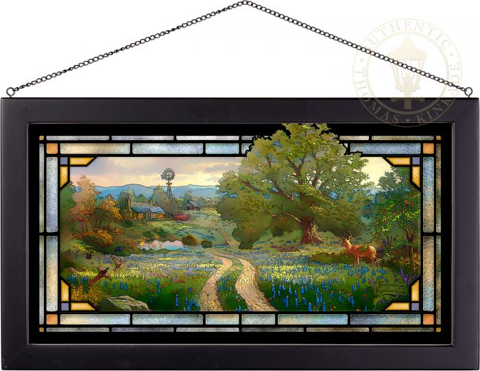 Country's Living – 13″ x 23″ Stained Glass Art (Black Frame)