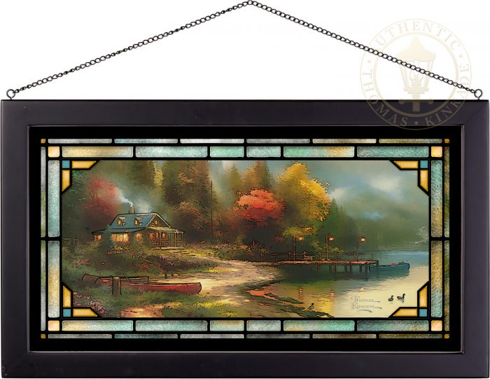 End of a Perfect Day III – 13″ x 23″ Stained Glass Art (Black Frame)