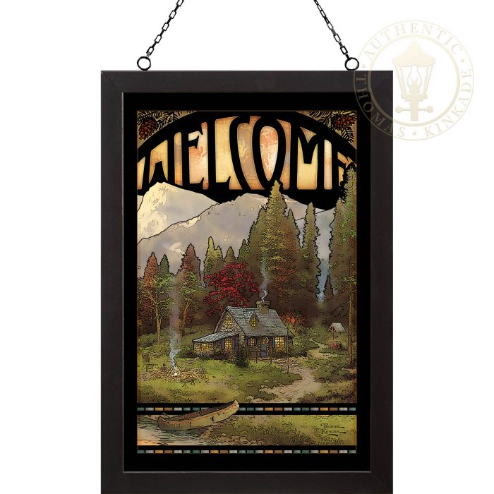 Evening Majesty – 20″ x 14″ Stained Glass Art (Black Frame)
