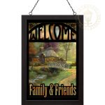 Friendship Cottage – 20″ x 14″ Stained Glass Art (Black Frame)
