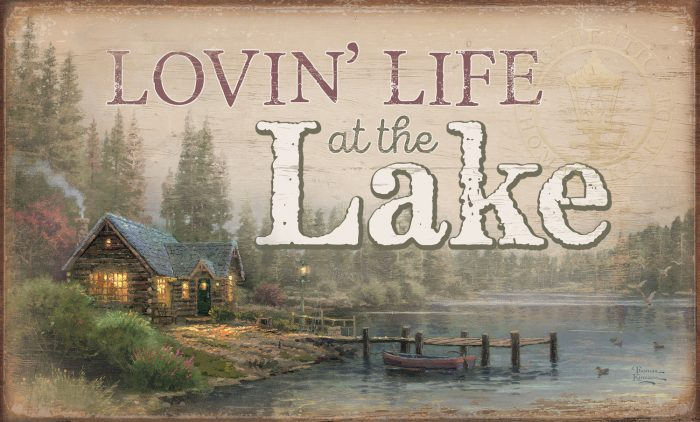 "Lakeside Hideaway – 18"" x 30"" Wood Sign"