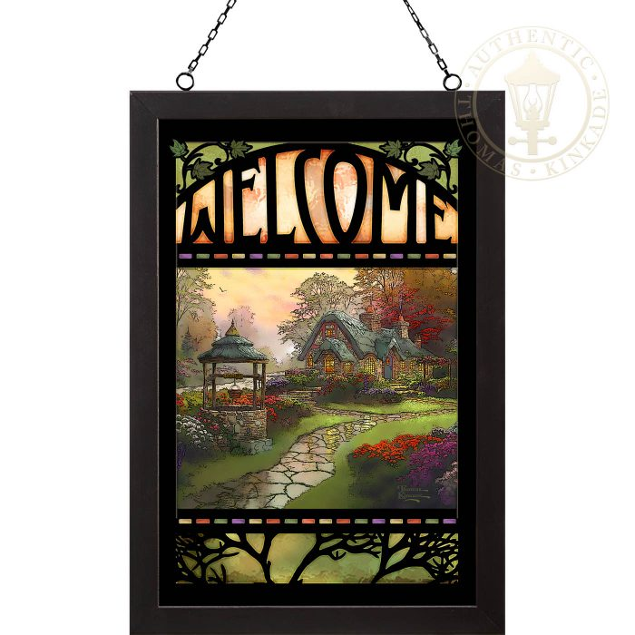 Make A Wish Cottage – 20″ x 14″ Stained Glass Art (Black Frame)