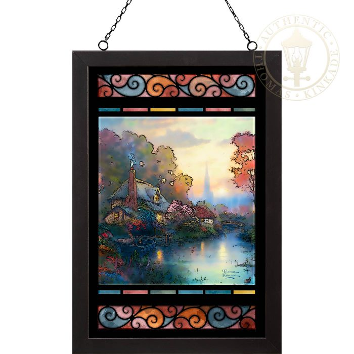 Nanette's Cottage – 20″ x 14″ Stained Glass Art (Black Frame)