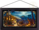 The Nativity – 13″ x 23″ Stained Glass Art (Black Frame)