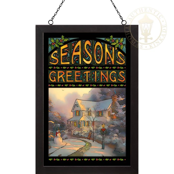 Night Before Christmas – 20″ x 14″ Stained Glass Art (Black Frame)