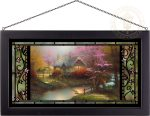 Stepping Stone Cottage – 13″ x 23″ Stained Glass Art (Black Frame)