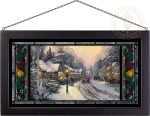 Village Christmas – 13″ x 23″ Stained Glass Art (Black Frame)