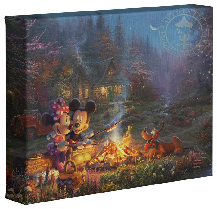 Mickey and Minnie – Sweetheart Campfire – 8″ x 10″ Gallery Wrapped Canvas