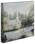 Snow At Hometown Chapel – 14″ x 14″ Gallery Wrapped Canvas