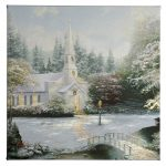 "Snow At Hometown Chapel - 14"" x 14"" Gallery Wrapped Canvas"