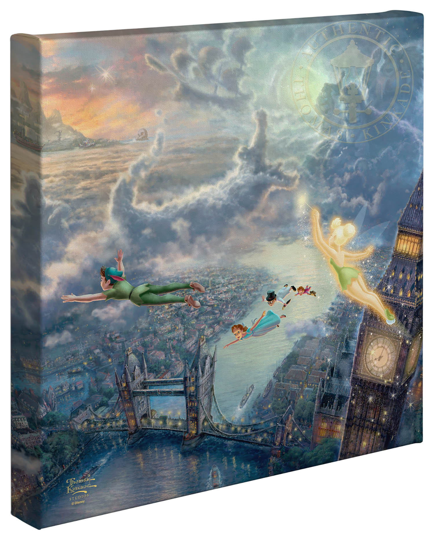 Tinker Bell And Peter Pan Fly To Neverland 14 X 14 Gallery Wrapped Canvas Thomas Kinkade Studios