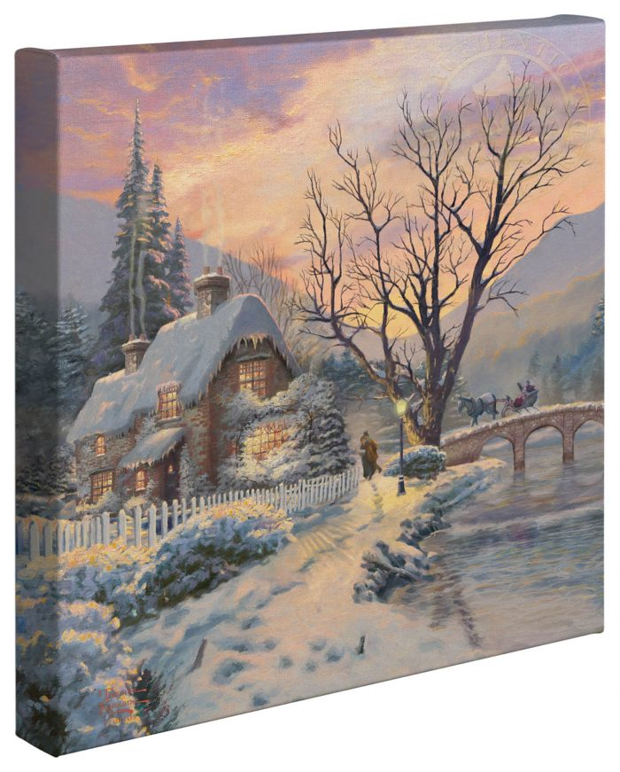 Winter Evening Gathering – 14″ x 14″ Gallery Wrapped Canvas