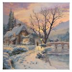 """Winter Evening Gathering - 14"""" x 14"""" Gallery Wrapped Canvas"""