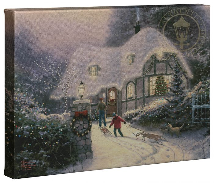 Christmas Cottage Homecoming – 10″ x 14″ Gallery Wrapped Canvas