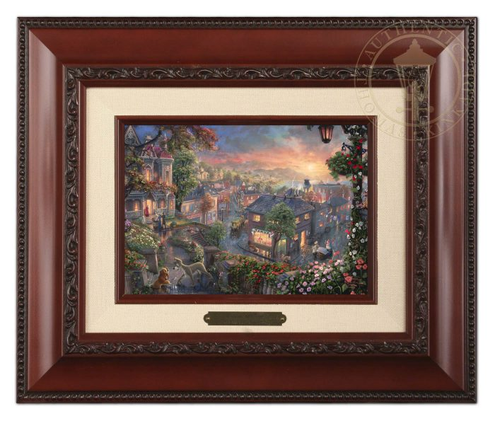 Lady and the Tramp – 10.5″ x 12.5″ Brushwork (Brushworks Brandy Frame)
