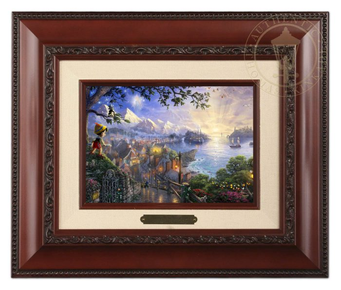 Pinocchio Wishes Upon a Star – 10.5″ x 12.5″ Brushwork (Brushworks Brandy Frame)