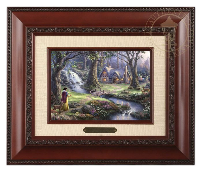 Snow White Discovers the Cottage – 10.5″ x 12.5″ Brushwork (Brushworks Brandy Frame)