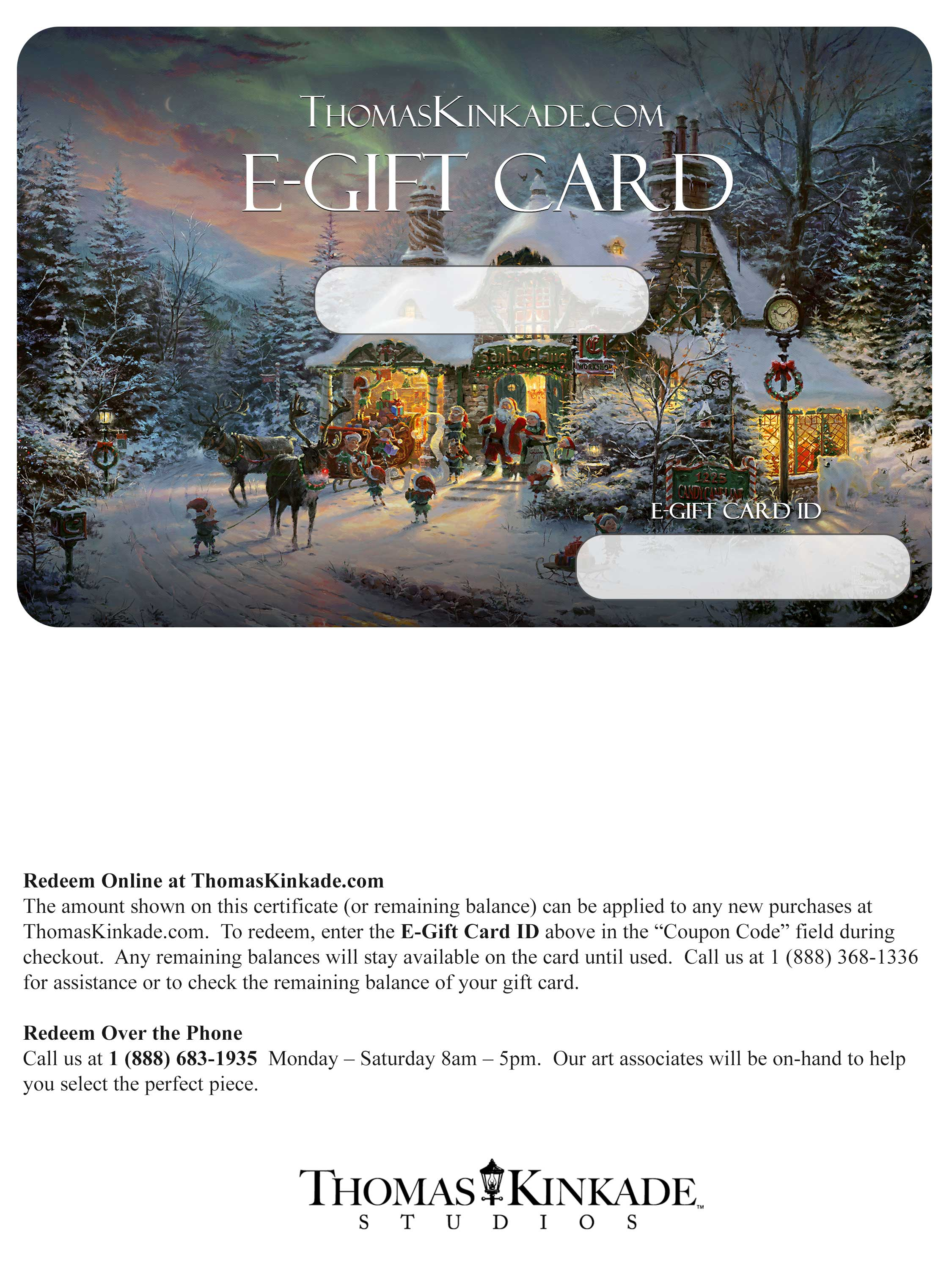 50 printable gift card the thomas kinkade company