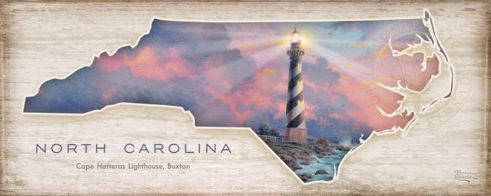 North Carolina; Cape Hatteras Lighthouse – 12″ x 30″ Wood Sign