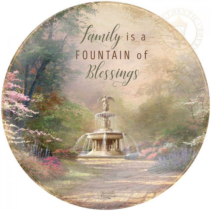 Family is a Fountain of Blessings – 21″ Wood Sign