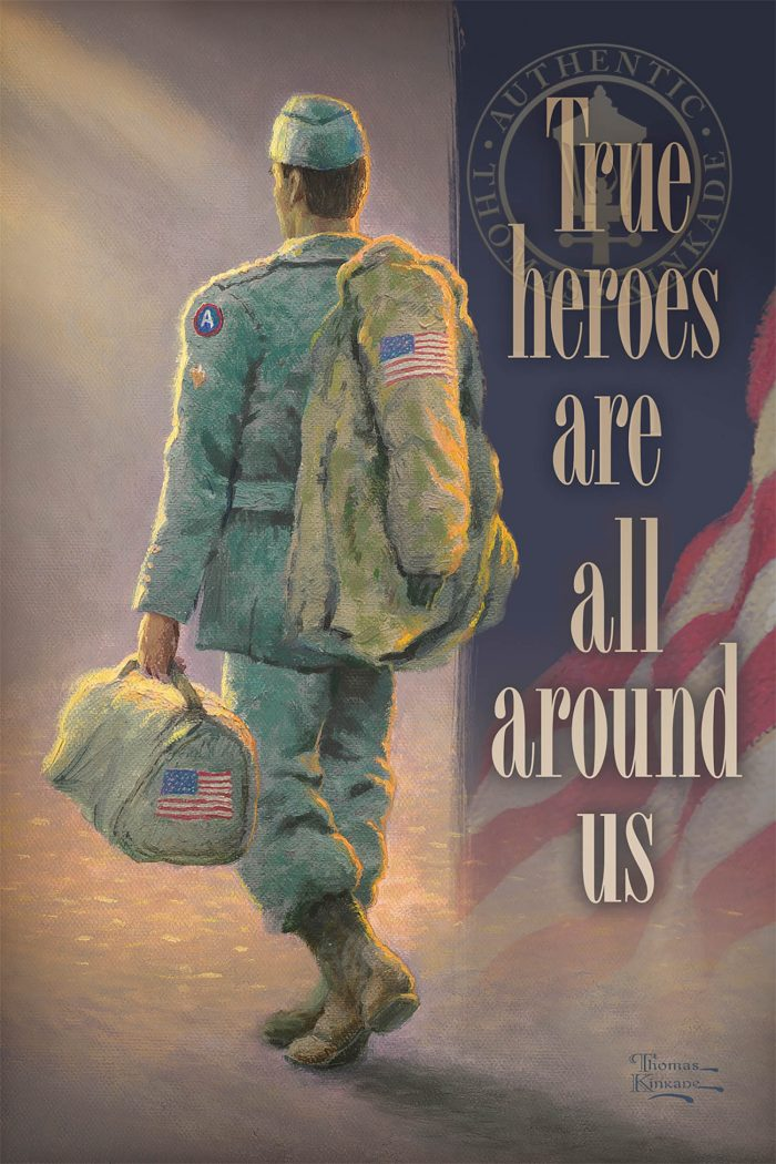 True Heroes are All Around Us – Soldier – 18″ x 12″ Wood Sign