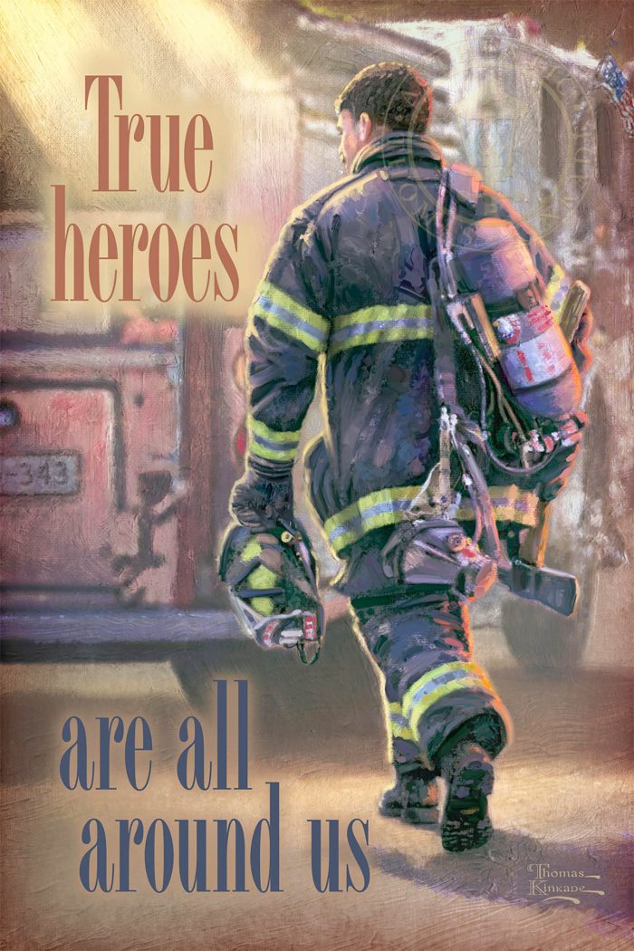 True Heroes are All Around Us – Fireman – 18″ x 12″ Wood Sign