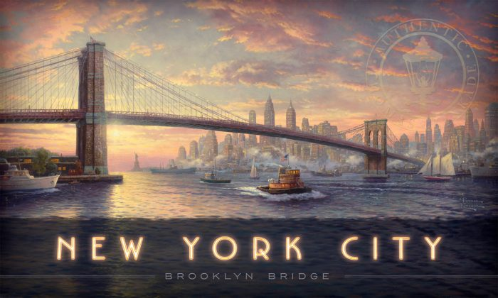 New York City; Brooklyn Bridge – 18″ x 30″ Wood Sign