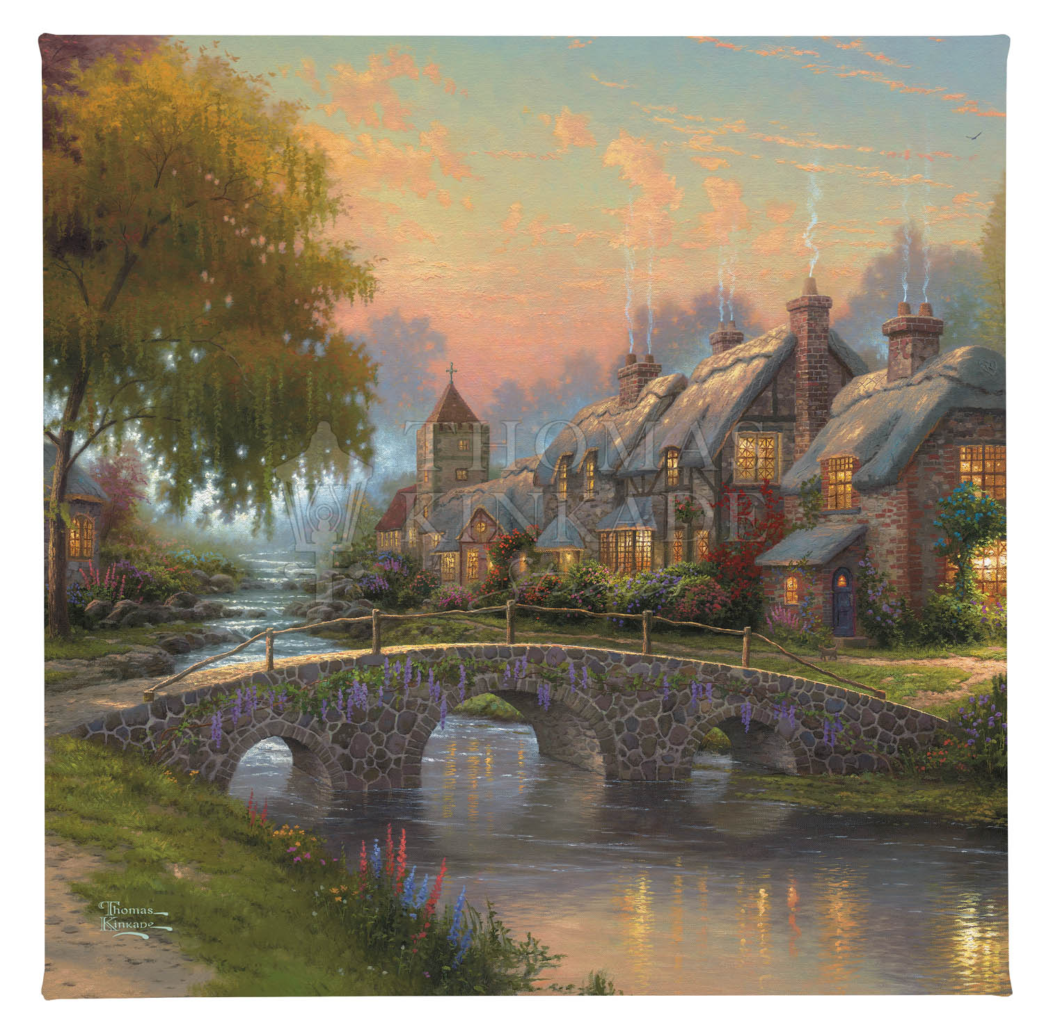 "Cobblestone Bridge - 14"" x 14"" Gallery Wrapped Canvas"