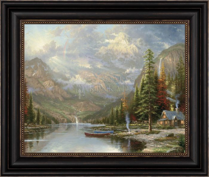 Mountain Majesty  – 22″ x 26 1/2″ Brushstroke Vignette (Black Frame)