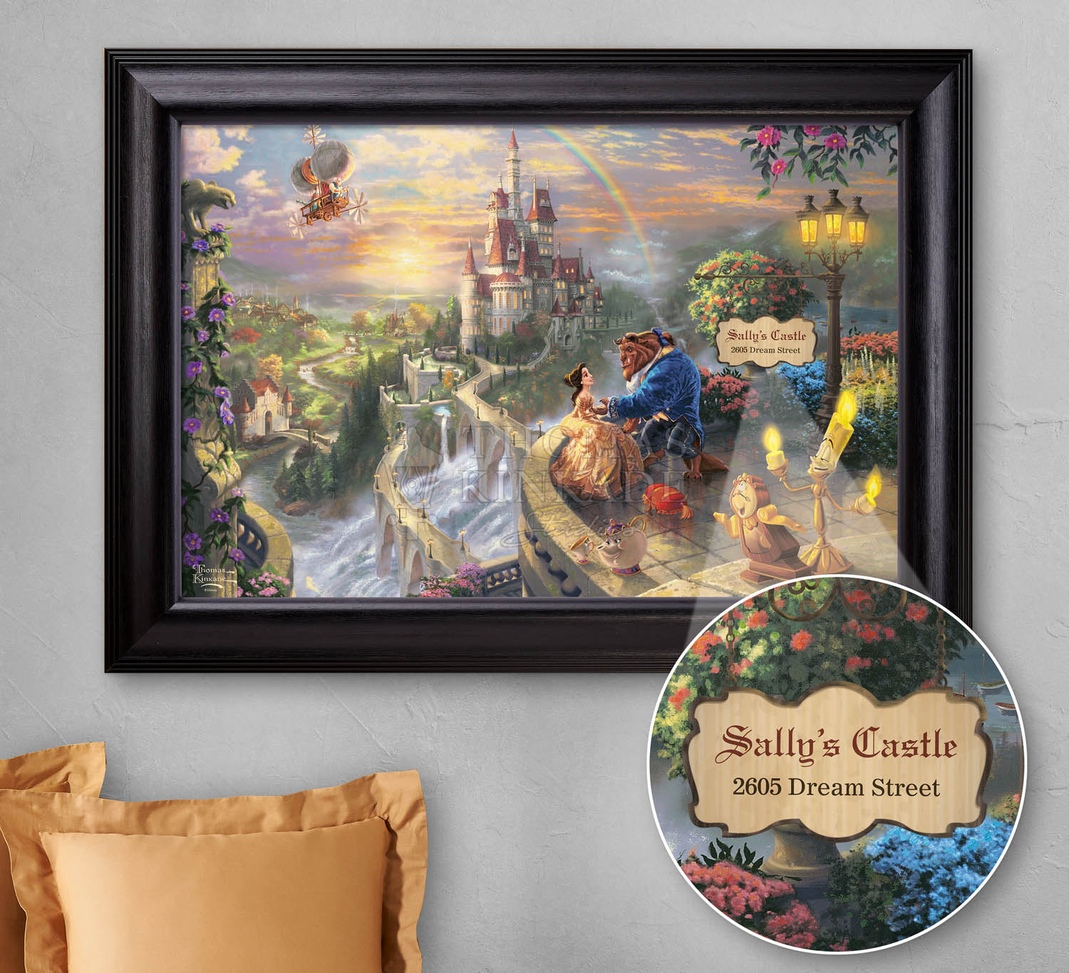 Beauty and the beast falling in love personalized canvas