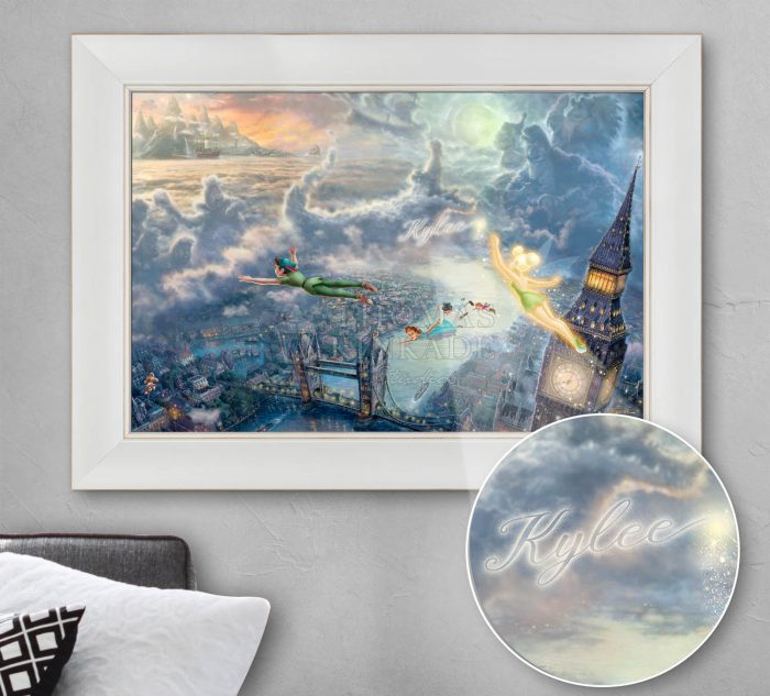 Tinker Bell and Peter Pan Fly to Neverland – Personalized Canvas