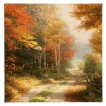 "A Walk Down Autumn Lane - 14"" x 14"" - Gallery Wrap Canvas"