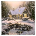 "Winter Light Cottage - 14"" x 14"" - Gallery Wrap Canvas"