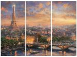 Paris, City of Love – 36″ x 16″ Triptych Giclee Canvas