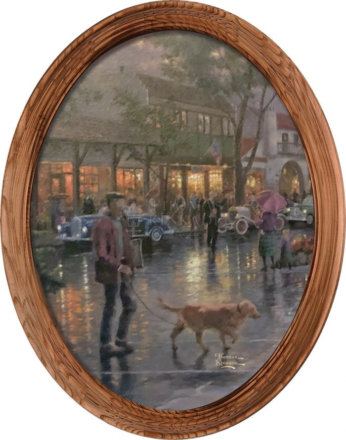 Carmel Sunset on Ocean Ave (Dog) – 16″ x 12″ Framed Canvas Oval