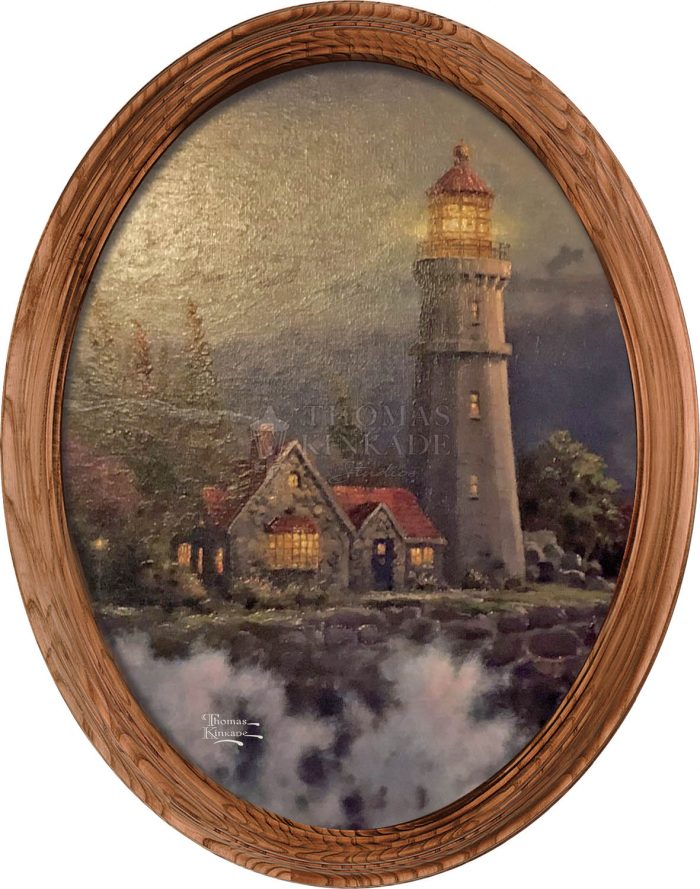 Conquering the Storms (Lighthouse) – 16″ x 12″ Framed Canvas Oval