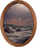 Conquering the Storms (Sailboat) – 16″ x 12″ Framed Canvas Oval