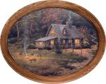 Evening Majesty (Cabin & Fire)  – 12″ x 16″ Framed Canvas Oval