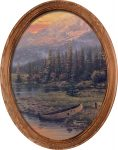 Evening Majesty (Canoe) – 16″ x 12″ Framed Canvas Oval