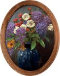 Lilac Bouquet – 16″ x 12″ Framed Canvas Oval